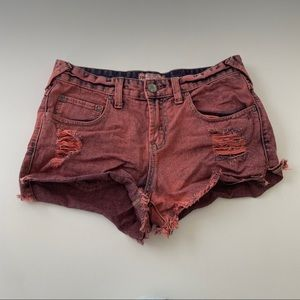 Free People red distressed shorts size 26